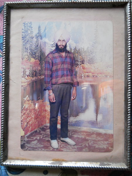 Photo of Kulwinder Singh, victim of extrajudicial execution on October 15, 1992, in Phillaur,  by Black cat, in Phillaur, by Punjab Police; Central Reserve Police Force
