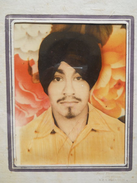 Photo of Manjit Singh, victim of extrajudicial execution on February 23, 1989, in Nakodar CIA Staff, Nurmahal,  by Punjab Police; Criminal Investigation Agency, in Nakodar, by Punjab Police