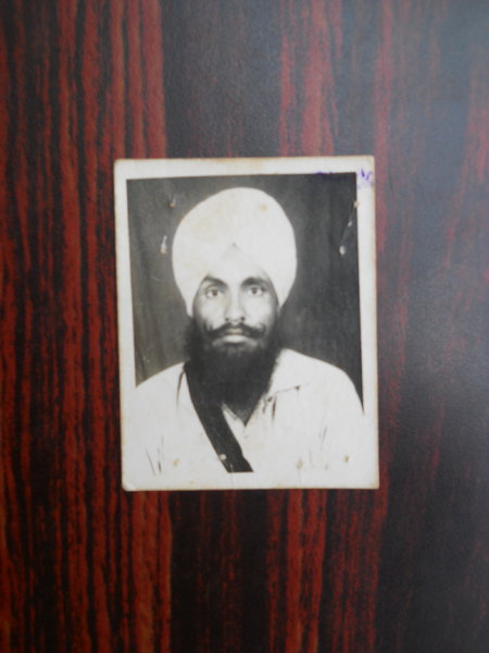 Photo of Gurmail Singh, victim of extrajudicial execution on September 15, 1991, in Dharamkot,  by Punjab Police; Black cat, in Dharamkot, by Punjab Police
