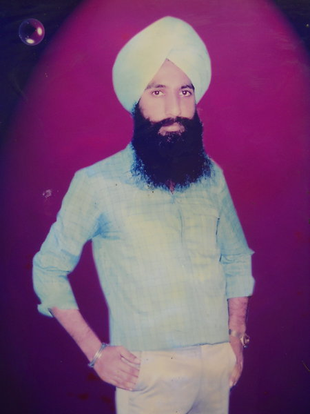 Photo of Kulwant Singh, victim of extrajudicial execution on March 29, 1991, in Faridkot, Ghal Kalan, Mehna, Ajitwal, Moga, by Punjab Police