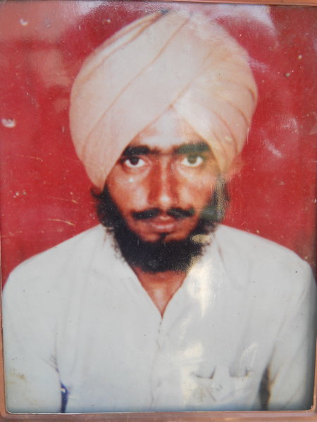Photo of Nahar Singh, victim of extrajudicial execution on September 27, 1991, in Makhu, by Punjab Police