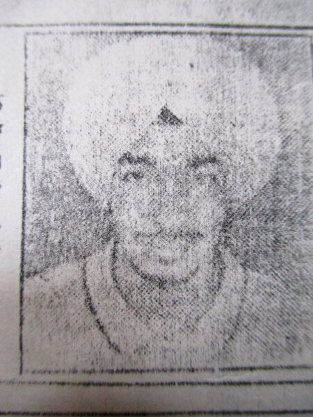 Photo of Balbir Singh, victim of extrajudicial execution on October 05, 1991, in Mehna, by Punjab Police