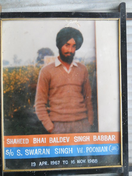 Photo of Baldev Singh, victim of extrajudicial execution on November 16, 1988, in Ludhiana, Jalandhar,  by Punjab Police; Border Security Force, in Ludhiana, Jalandhar, Banga, by Punjab Police