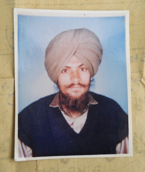 Photo of Narinder Singh, victim of extrajudicial execution between September 16, 1991 and September 17,  1991, in Bassi Pathana, by Punjab Police
