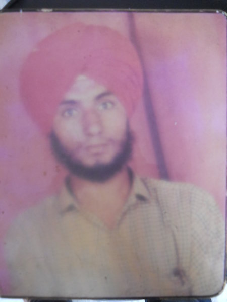 Photo of Hakam Singh, victim of extrajudicial execution, date unknown, in Dehlon, by Punjab Police